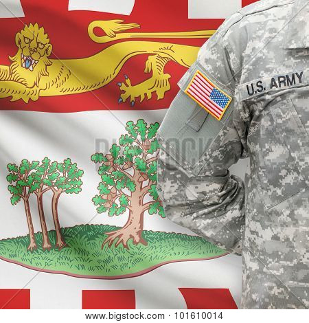 American Soldier With Canadian Province Flag On Background - Prince Edward Island