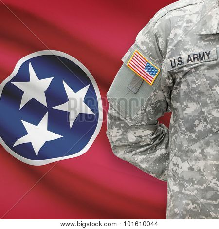 American Soldier With Us State Flag On Background - Tennessee