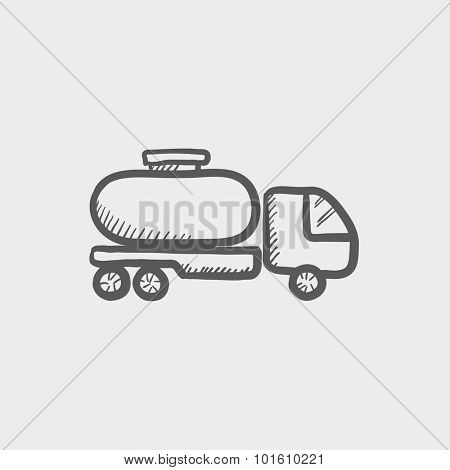 Fuel truck sketch icon for web, mobile and infographics. Hand drawn vector dark grey icon isolated on light grey background.