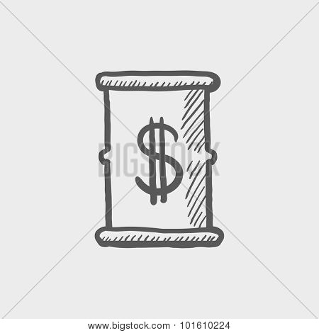 Barrel with dollar symbol sketch icon for web, mobile and infographics. Hand drawn vector dark grey icon isolated on light grey background.