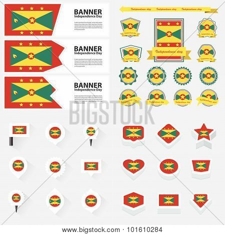 Grenada Independence Day, Infographic, And Label Set.
