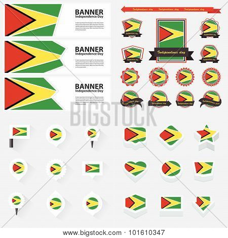 Guyana Independence Day, Infographic, And Label Set.