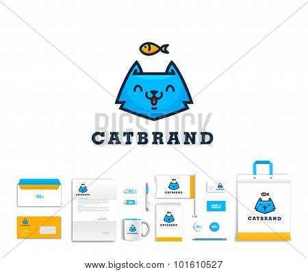 Vector artistic corporate identity template with cat logo and colorful elements.