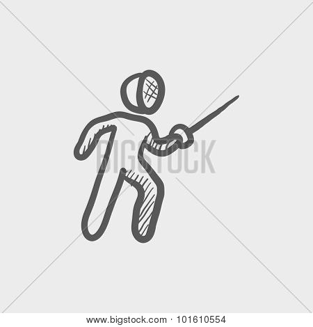 Fencing sketch icon for web, mobile and infographics. Hand drawn vector dark grey icon isolated on light grey background.