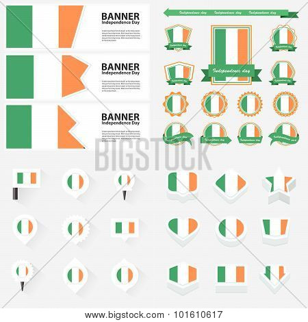 Ireland Independence Day, Infographic, And Label Set.