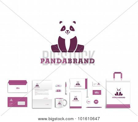 Vector artistic corporate identity template with panda logo and colorful elements.