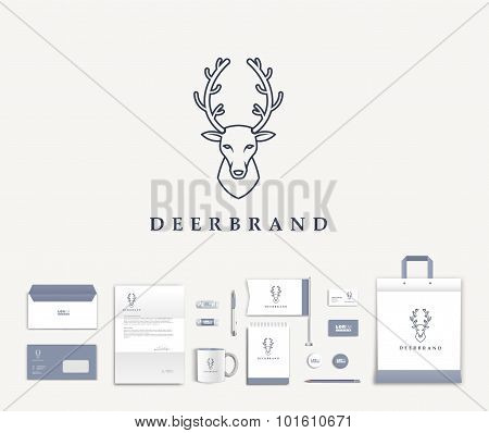 Vector artistic corporate identity template with deer logo and colorful elements.