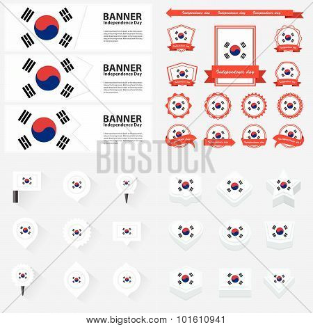 Korea South Independence Day, Infographic, And Label Set.