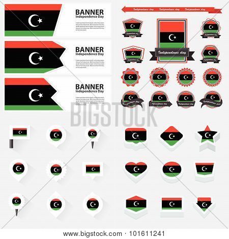 Libya Independence Day, Infographic, And Label Set.
