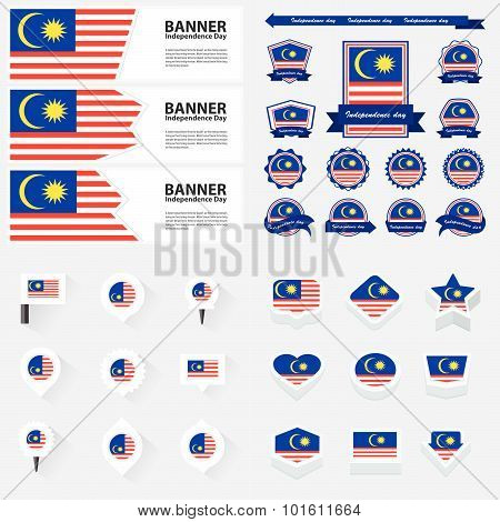 Malaysia Independence Day, Infographic, And Label Set.