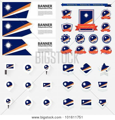 Marshall Islands Independence Day, Infographic, And Label Set.