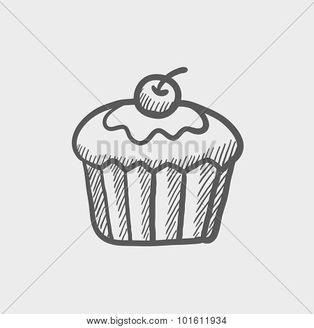 Cupcake with cherry sketch icon for web, mobile and infographics. Hand drawn vector dark grey icon isolated on light grey background.