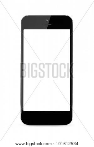 modern touch screen smartphone with blank screen isolated on white background