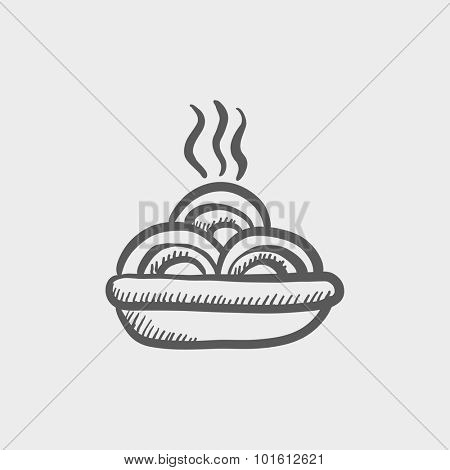 Hot meal in plate sketch icon for web, mobile and infographics. Hand drawn vector dark grey icon isolated on light grey background.