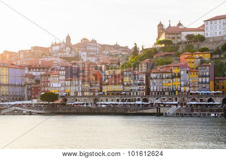 sunset view of Douro river and skyline of Porto, Portugal