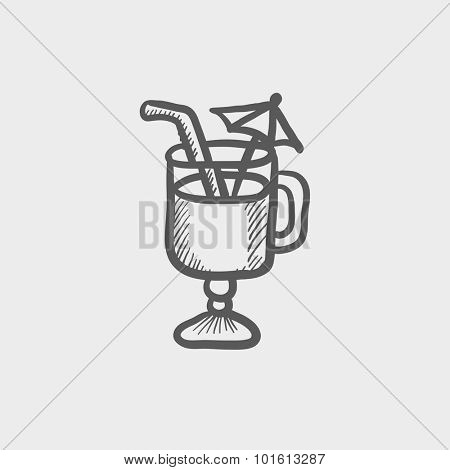 Glass with drinking straw and umbrella sketch icon sketch icon for web, mobile and infographics. Hand drawn vector dark grey icon isolated on light grey background.