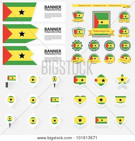 Sao Tome And Principe Independence Day, Infographic, And Label Set.