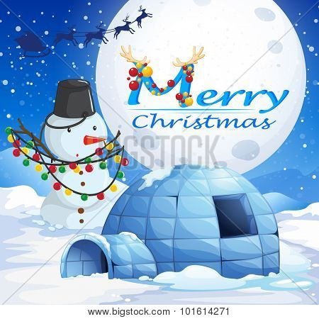 Christmas theme with snowman and igloo illustration