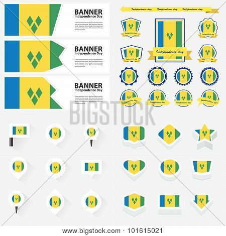 St Vincent & The Grenadines Independence Day, Infographic, And Label Set.