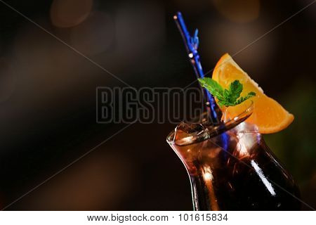 Cocktail on bar background