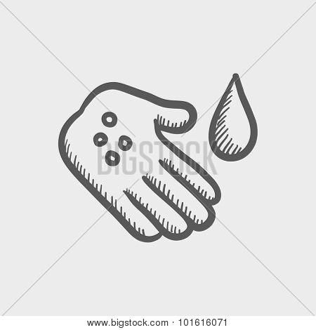 Microbes on the hand sketch icon for web, mobile and infographics. Hand drawn vector dark grey icon isolated on light grey background.