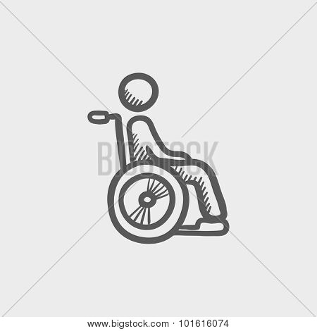 Disabled person sketch icon for web, mobile and infographics. Hand drawn vector dark grey icon isolated on light grey background.