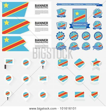 The Democratic Republic Of The Congo Independence Day, Infographic, And Label Set.