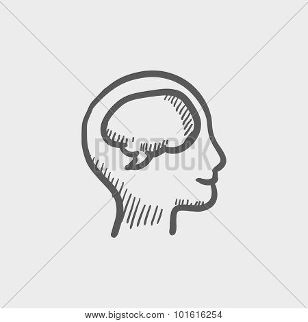 Human head with brain sketch icon for web, mobile and infographics. Hand drawn vector dark grey icon isolated on light grey background.