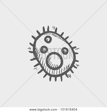 Bacteria sketch icon for web, mobile and infographics. Hand drawn vector dark grey icon isolated on light grey background.