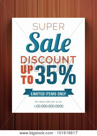 Creative Super Sale flyer, banner or template with 35% discount offer for limited times only.
