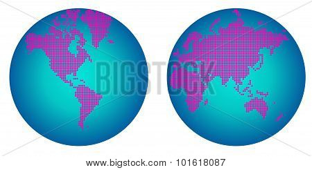 World map hemisphere of pink flower dots
