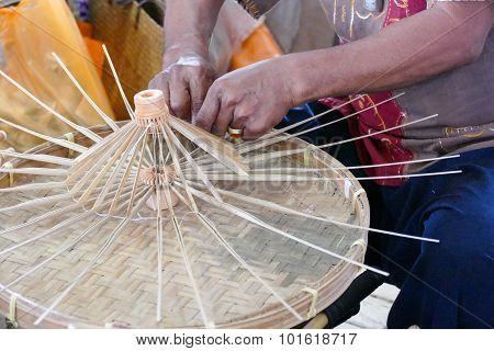 Artisan Is Making Rattan Umbrella Handcraft