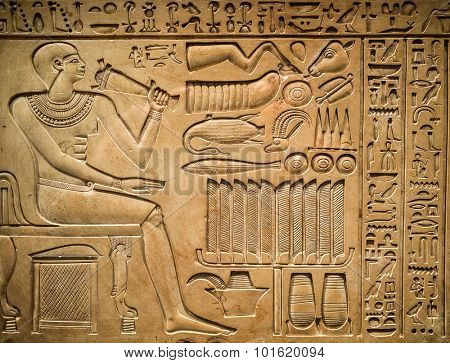 Ancient egyptian hieroglyph depicting a pharaoh, animals and signs
