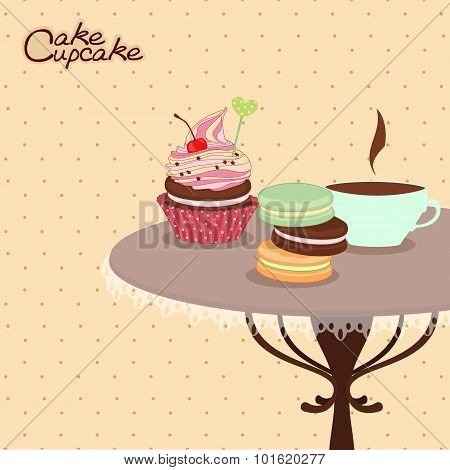 Bakery products on a round table with mug of coffee,confectionery, sweets, desserts.