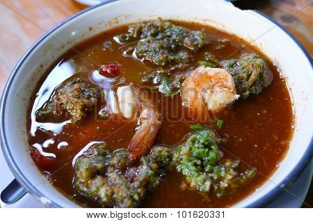 Sour Soup Made Of Tamarind Paste With Shrimp