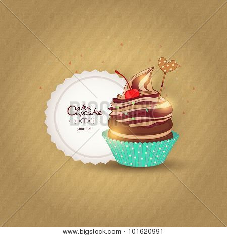 Vector illustration of a confection on textured background