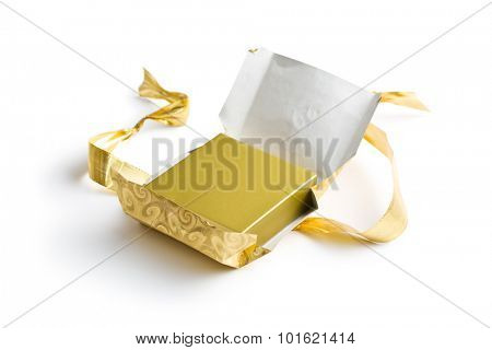 unwrapped gift on white background