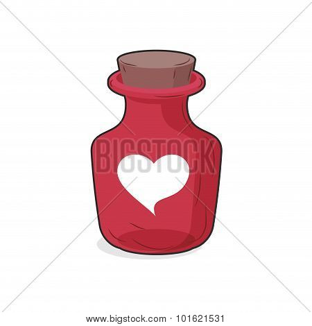 Magic Red Bottle Of Love Potion. Symbol Of  Heart. Glass Vessel For Love Spell