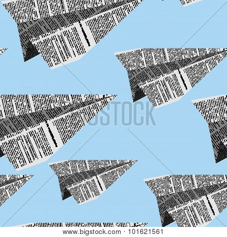 Paper Planes Seamless Pattern On A Blue Background. Vector Ornament Plane Newsprint Texture