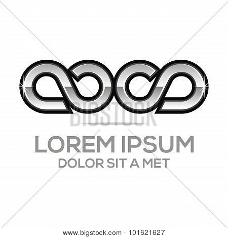 Logo infinity symbol s 8 element design vector
