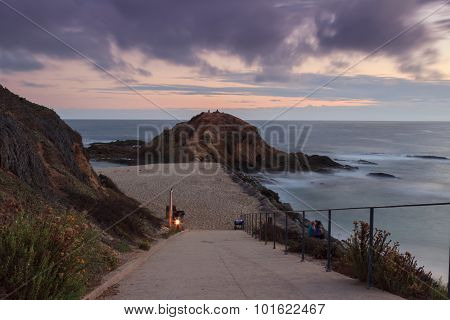 Beach cove at sunset in Laguna Beach, Southern California