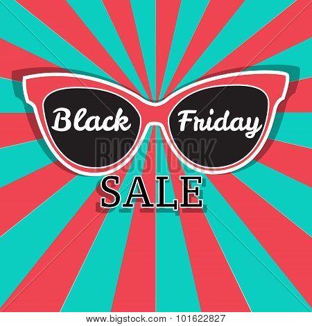 Vector Sale Poster Advertising Black Friday. Sunglasses Black Friday Sale.