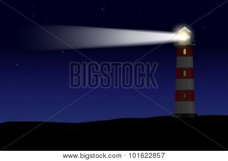 Lighthouse Against Night Starry Sky