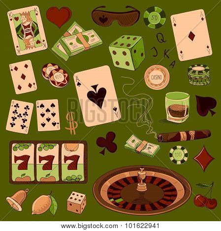 Hand drawn Casino icons set with a hand of aces playing cards, dice, roulette board, casino chips or tokens and lucky number 777