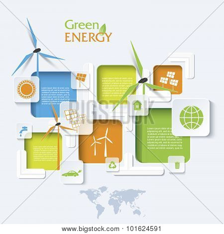 Creative Vector Infographic Design With Wind Turbines, Green Energy Concept. Modern Template