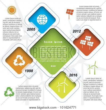 Creative Vector Infographic Design With Wind Turbines, Green Energy Timeline Concept. Modern Templat