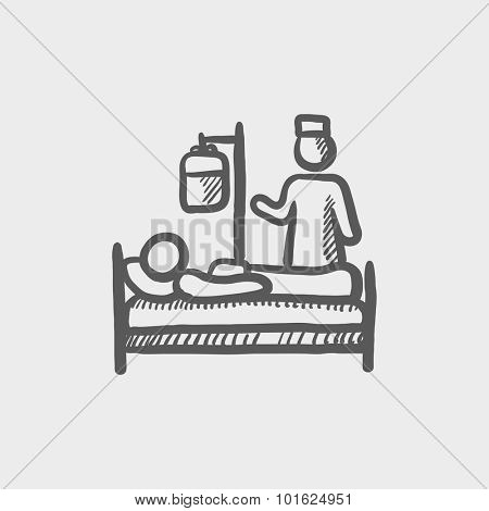 Nurse attending a patient sketch icon for web, mobile and infographics. Hand drawn vector dark grey icon isolated on light grey background.
