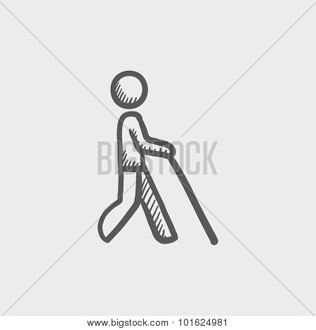 Blind man with stick sketch icon for web, mobile and infographics. Hand drawn vector dark grey icon isolated on light grey background.