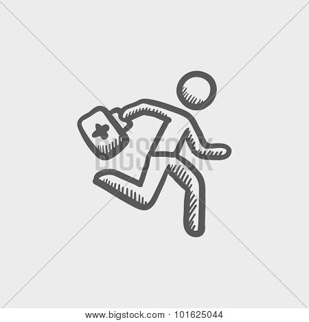 Paramedic running with first aid kit sketch icon for web, mobile and infographics. Hand drawn vector dark grey icon isolated on light grey background.