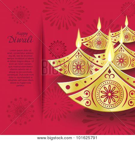 Creative Vector Design Of Burning Diwali Diya For Greeting Card